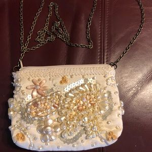 Mary Frances crossbody White beaded bag